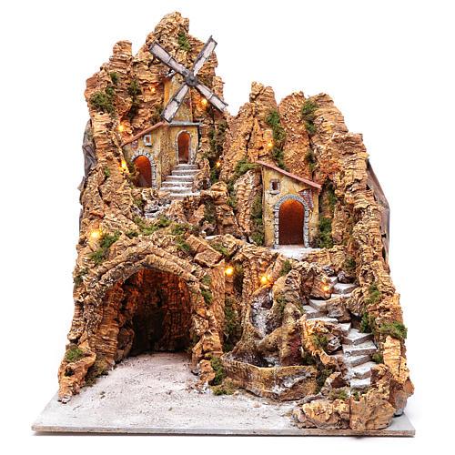 Ambientazione presepe napoletano mulino e capanna 75x55x65 cm 1