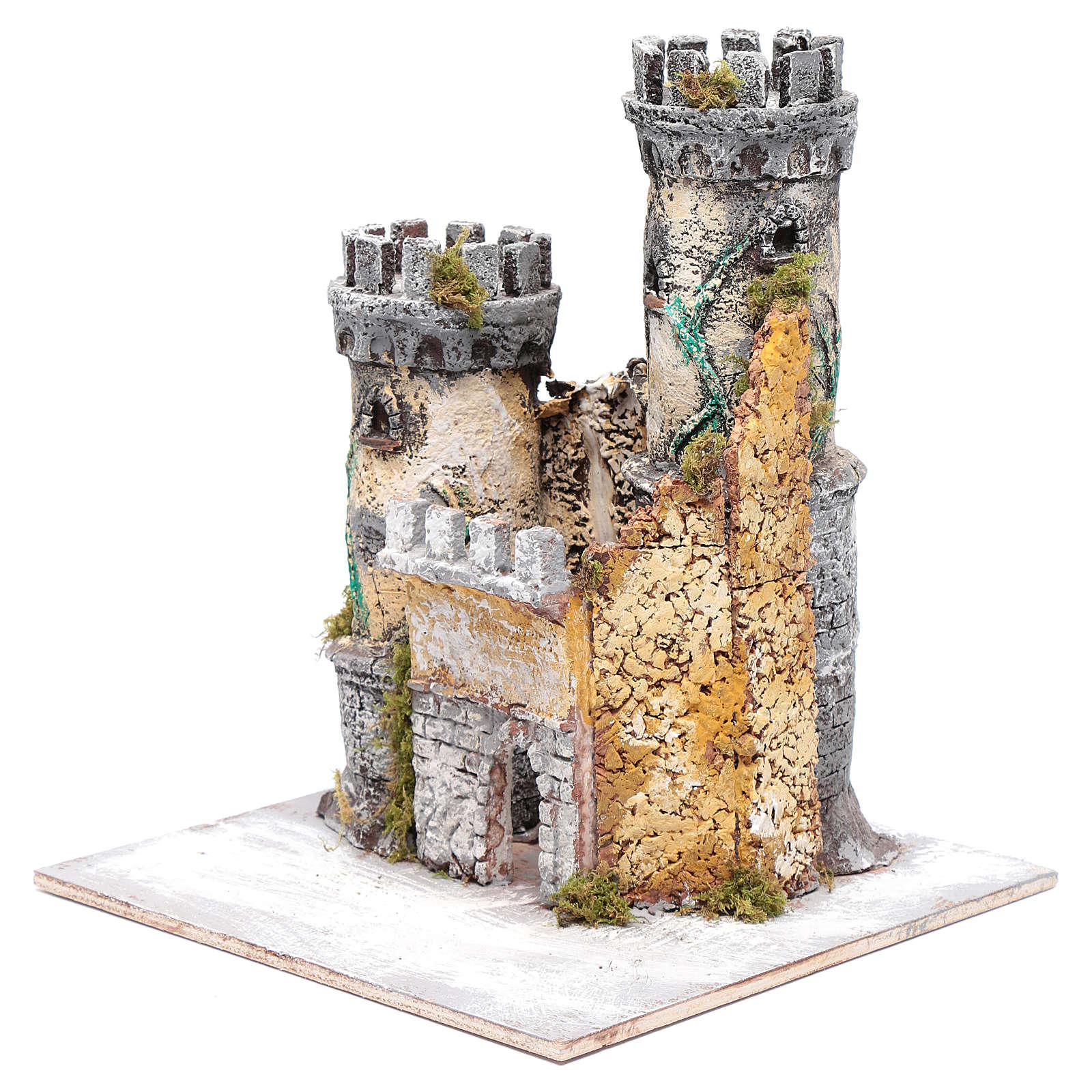 Castello due torri 30x25x25 cm presepe di Napoli 4