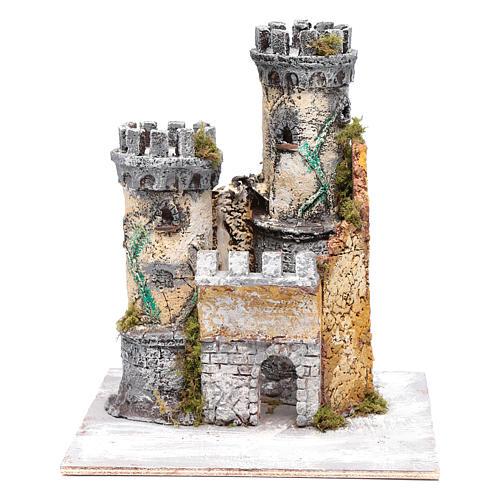 Castello due torri 30x25x25 cm presepe di Napoli 1