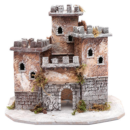 Castle with three towers 30x25x25 cm for Neapolitan nativity scene 1
