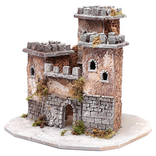 Castle with three towers 30x25x25 cm for Neapolitan nativity scene 2