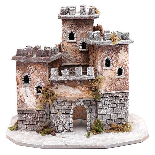 Castle with three towers 30x25x25 cm for Neapolitan nativity scene 1