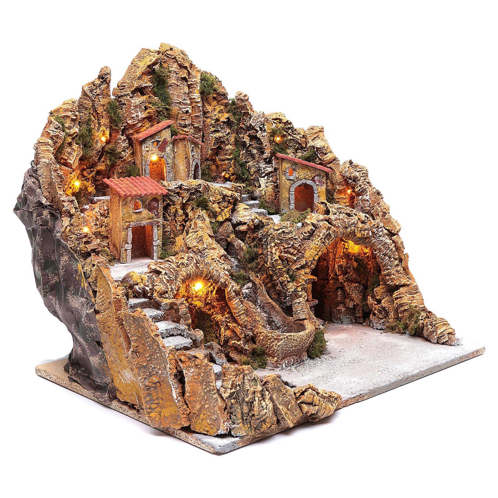 Ambientación para pesebre napolitano pueblo arroyo y horno 50x55x55 cm 4