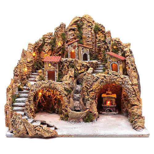 Ambientazione presepe napoletano case ruscello e forno | vendita