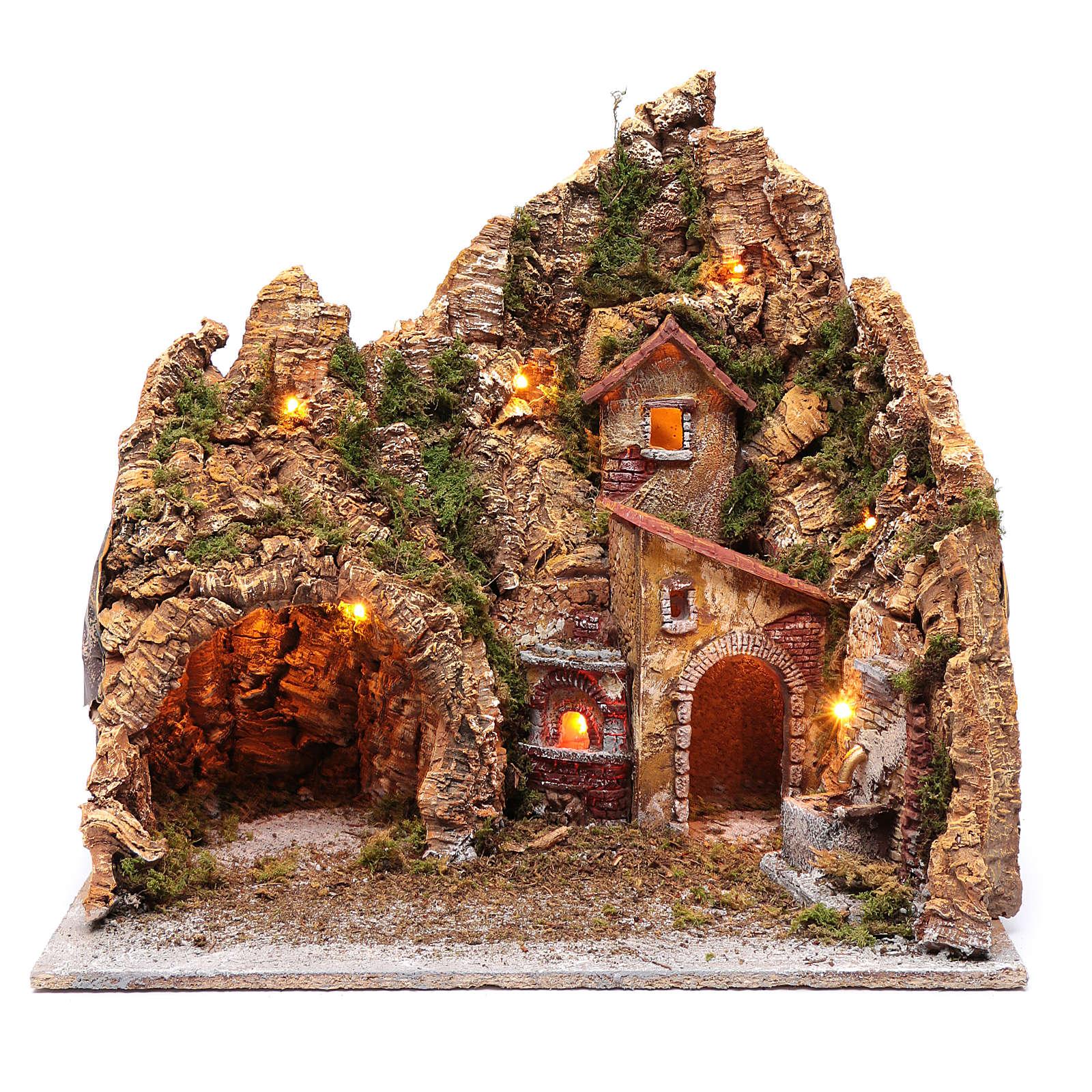 Neapolitan nativity scene setting with hut, fountain and oven 45X45X35 cm 4