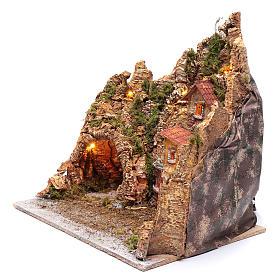 Neapolitan nativity scene setting with hut, fountain and oven 45X45X35 cm s2