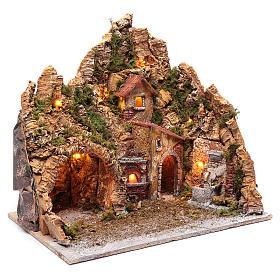 Neapolitan nativity scene setting with hut, fountain and oven 45X45X35 cm s3