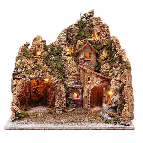 Neapolitan nativity scene setting with hut, fountain and oven 45X45X35 cm 1