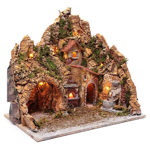Neapolitan nativity scene setting with hut, fountain and oven 45X45X35 cm 3