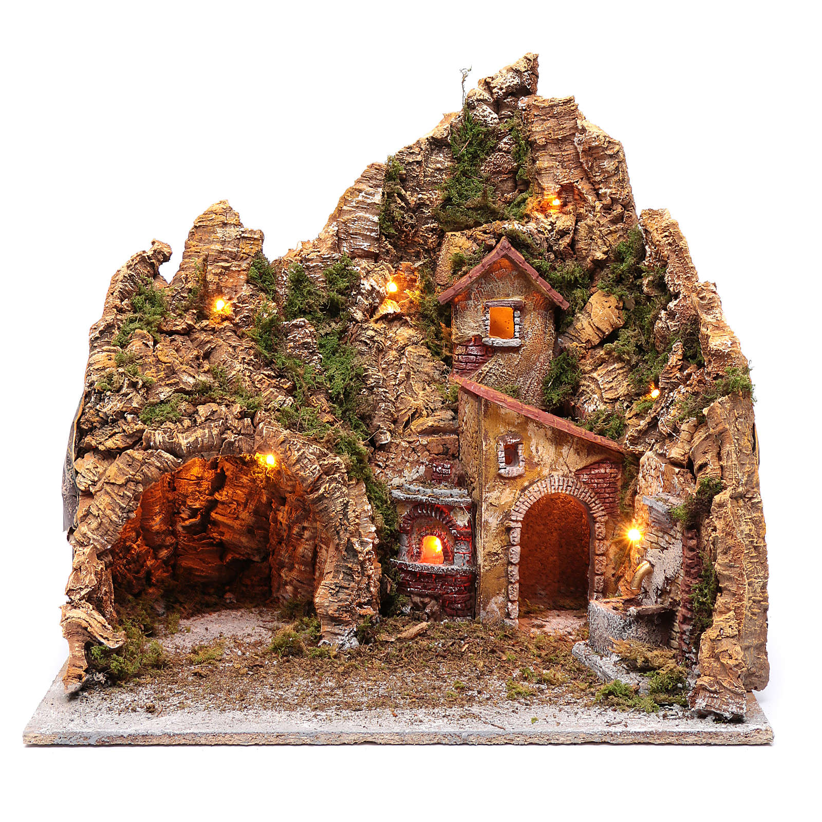 Escenografía pesebre de Nápoles casa fuente y horno 45x45x35 4