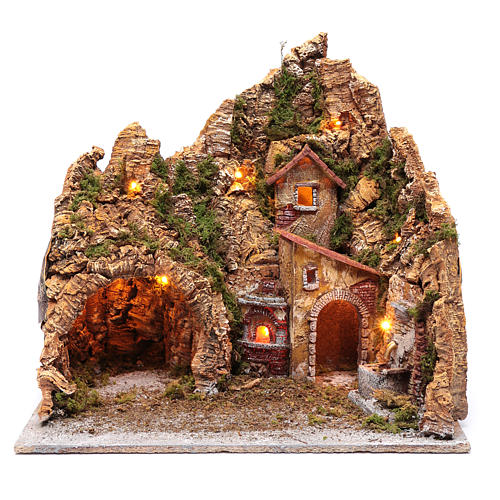 Escenografía pesebre de Nápoles casa fuente y horno 45x45x35 1