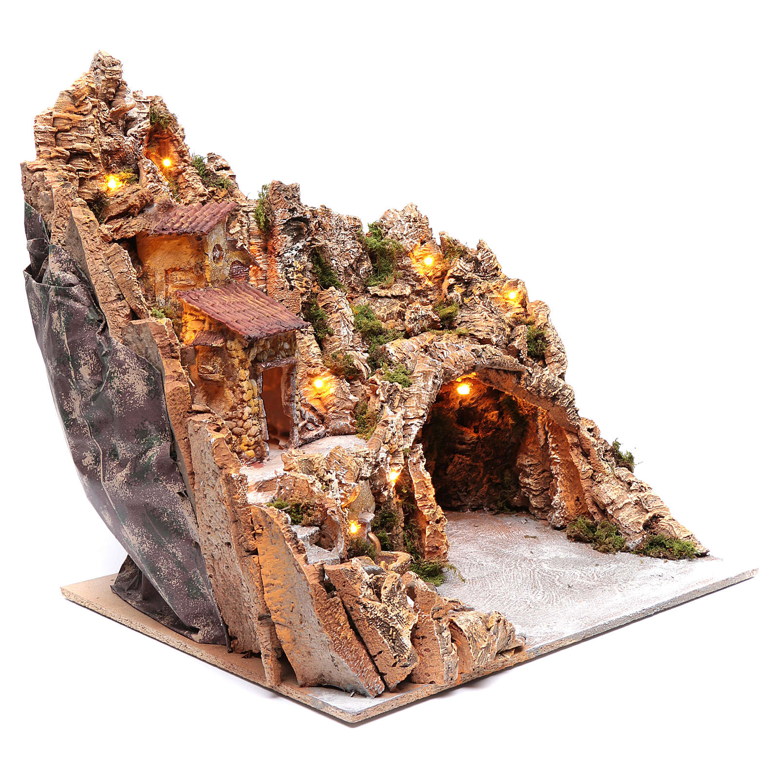 Neapolitan nativity scene setting with hut and fountain 50X40X40 cm 4
