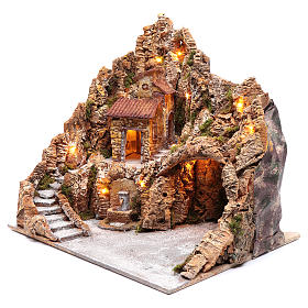 Neapolitan nativity scene setting with hut and fountain 50X40X40 cm s2