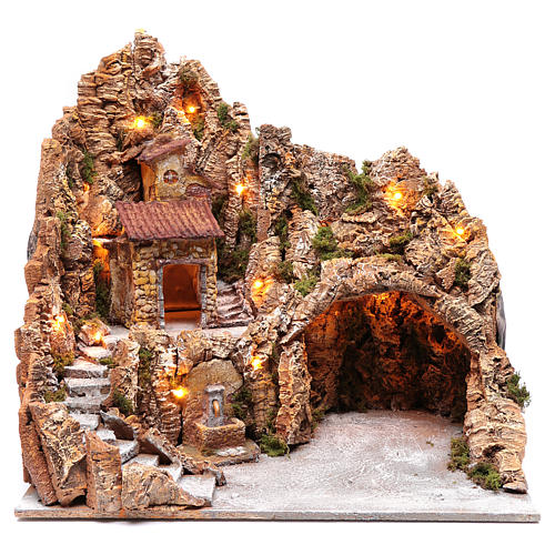 Neapolitan nativity scene setting with hut and fountain 50X40X40 cm 1
