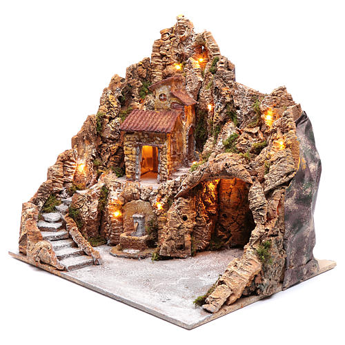Neapolitan nativity scene setting with hut and fountain 50X40X40 cm 2