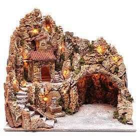 Décor crèche de Naples cabane et fontaine 49,5x50x40 cm s1