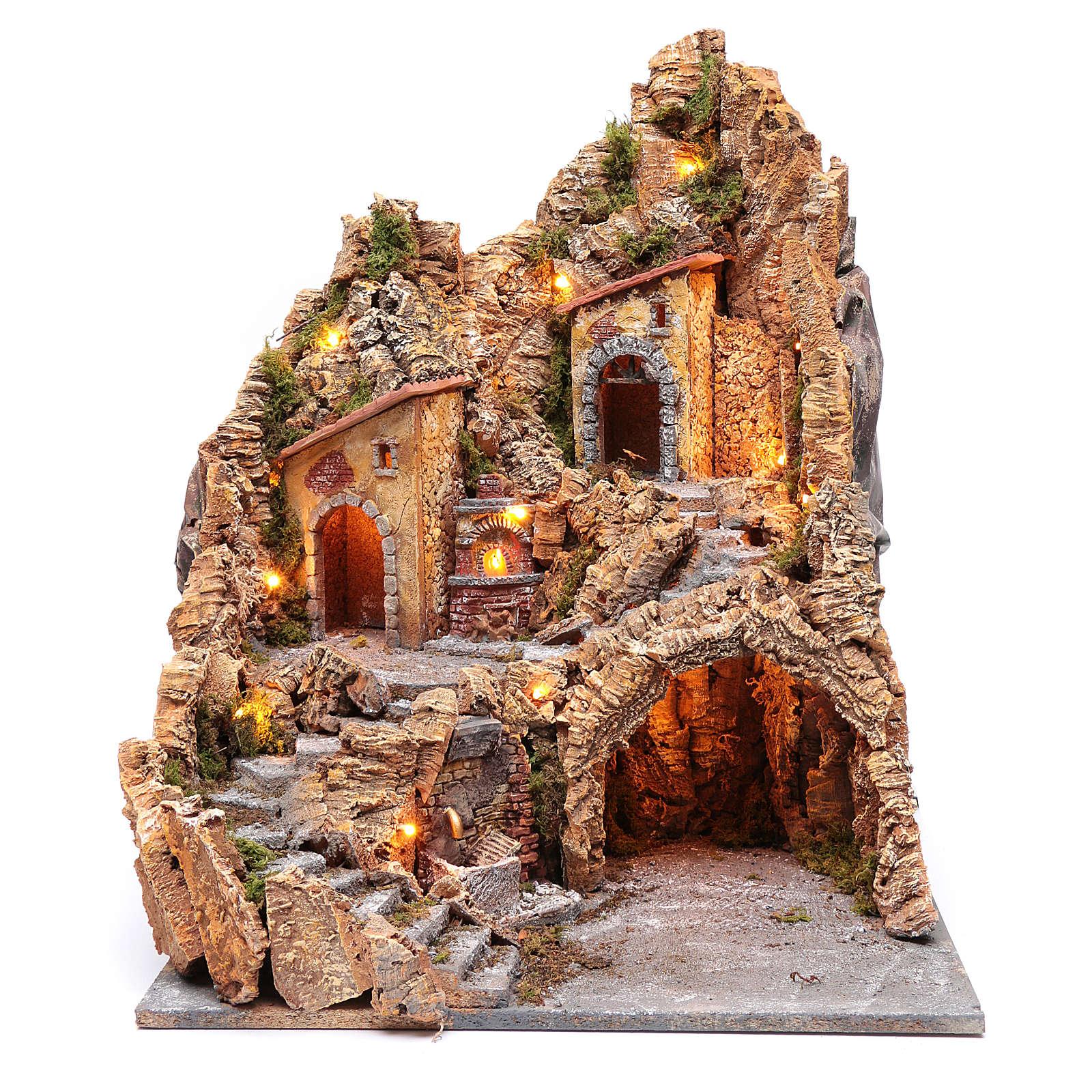 Décor crèche napolitaine cabane fontaine et four 58,5x45x47 cm 4