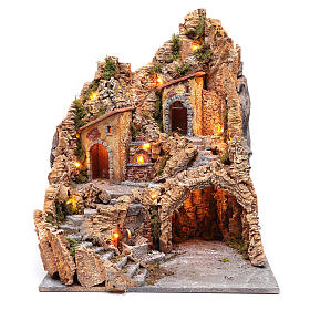 Nativity scene setting with lights and oven 60X45X45 cm s1