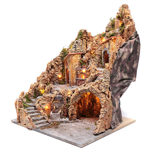 Nativity scene setting with lights and oven 60X45X45 cm 2