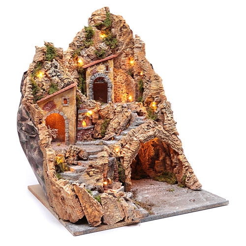 Nativity scene setting with lights and oven 60X45X45 cm 3