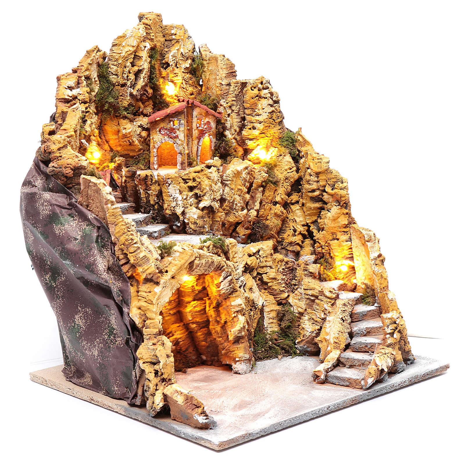 Escenografía para pesebre napolitano gruta natividad luces y casas 40x35x40 cm 4