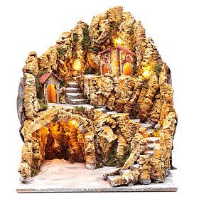 Escenografía para pesebre napolitano gruta natividad luces y casas 40x35x40 cm s1