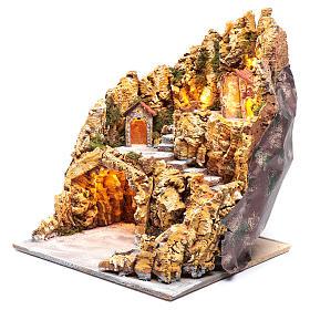 Escenografía para pesebre napolitano gruta natividad luces y casas 40x35x40 cm s2
