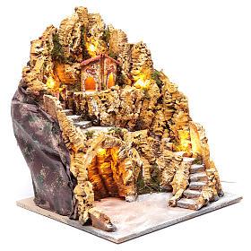 Escenografía para pesebre napolitano gruta natividad luces y casas 40x35x40 cm s3
