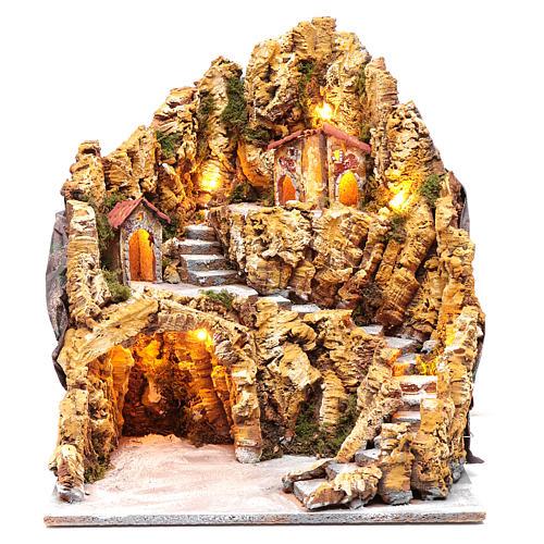 Escenografía para pesebre napolitano gruta natividad luces y casas 40x35x40 cm 1