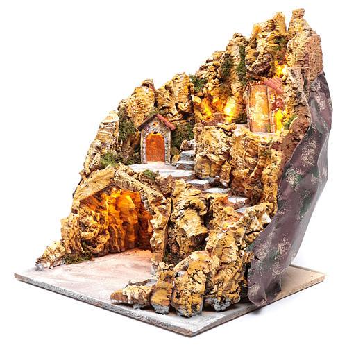 Escenografía para pesebre napolitano gruta natividad luces y casas 40x35x40 cm 2