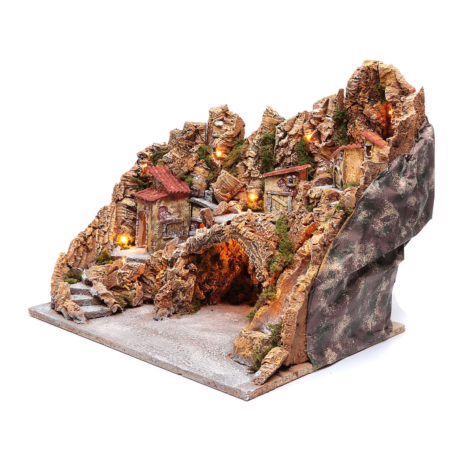 Nativity scene hut with stream and oven Neapolitan nativity scene 45X50X40 cm 4