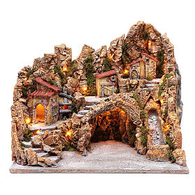 Nativity scene hut with stream and oven Neapolitan nativity scene 45X50X40 cm s1