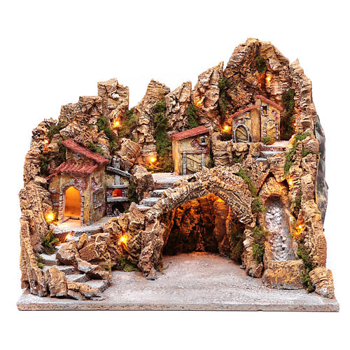 Nativity scene hut with stream and oven Neapolitan nativity scene 45X50X40 cm 1