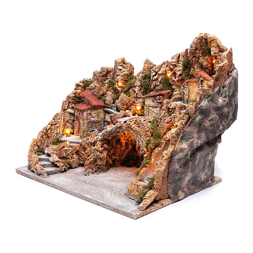 Nativity scene hut with stream and oven Neapolitan nativity scene 45X50X40 cm 2