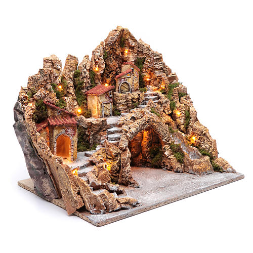 Nativity scene hut with stream and oven Neapolitan nativity scene 45X50X40 cm 3