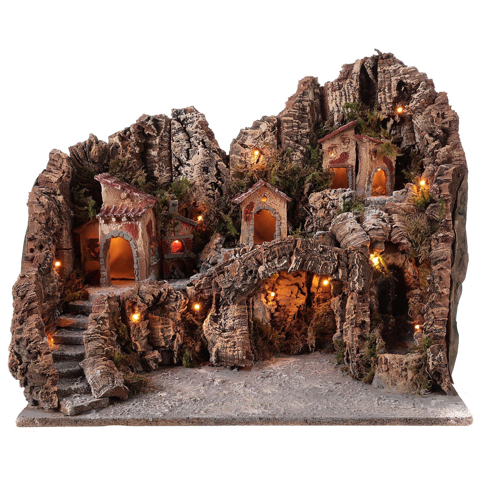 Gruta Natividad río y horno belén napolitano 45 x 50 x 40 cm 4