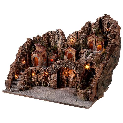 Gruta Natividad río y horno belén napolitano 45 x 50 x 40 cm 3