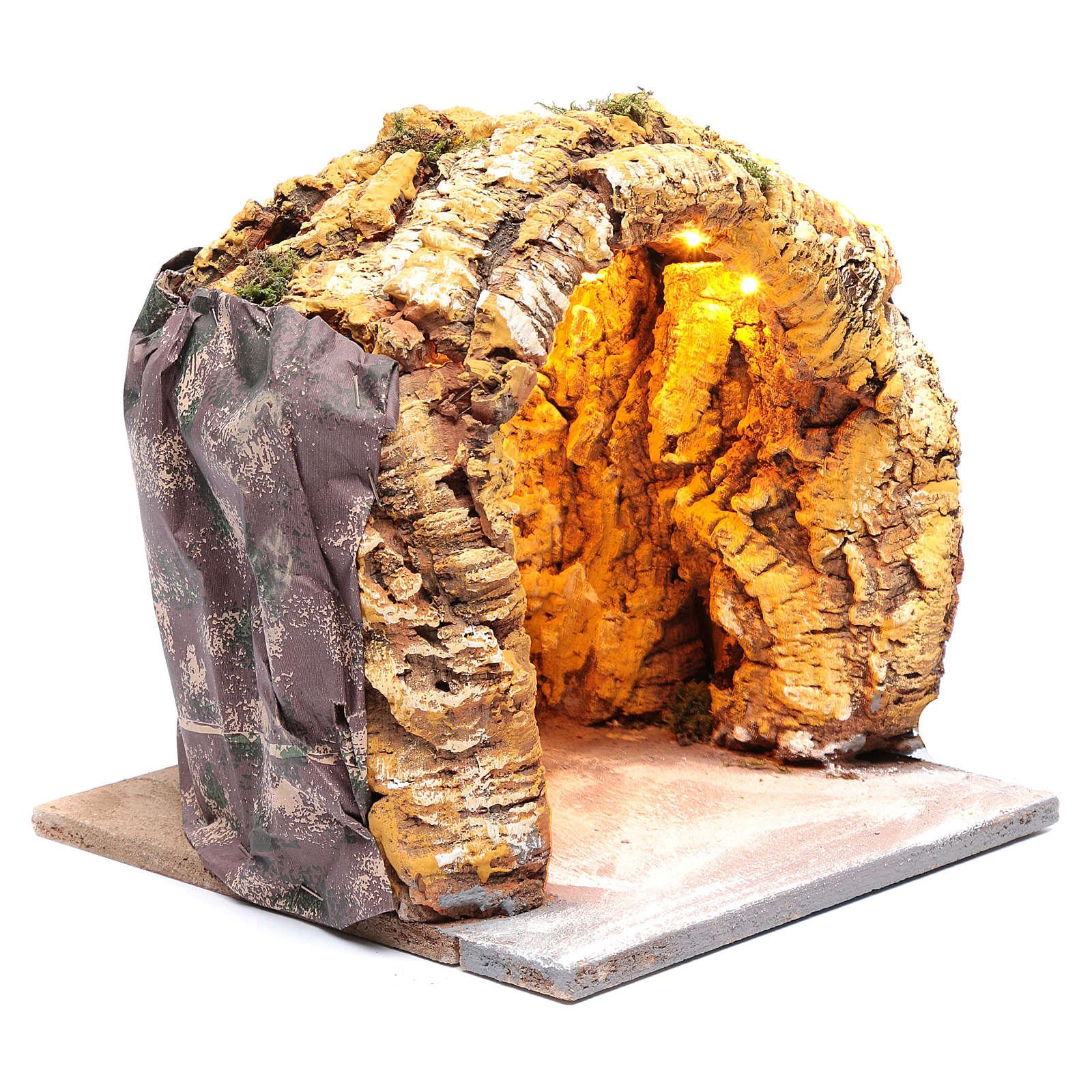 Cueva belén napolitano 25x25x25 cm iluminada 4