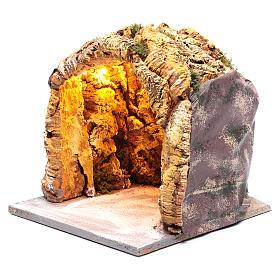 Grotte crèche napolitaine 26x24,3x25,3 cm illuminée s2