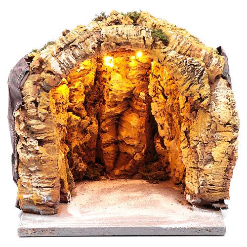 Grotta presepe napoletano 25x25x25 cm illuminata 1