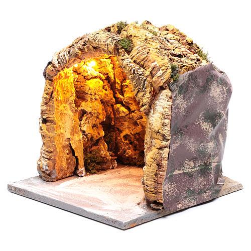 Grotta presepe napoletano 25x25x25 cm illuminata 2