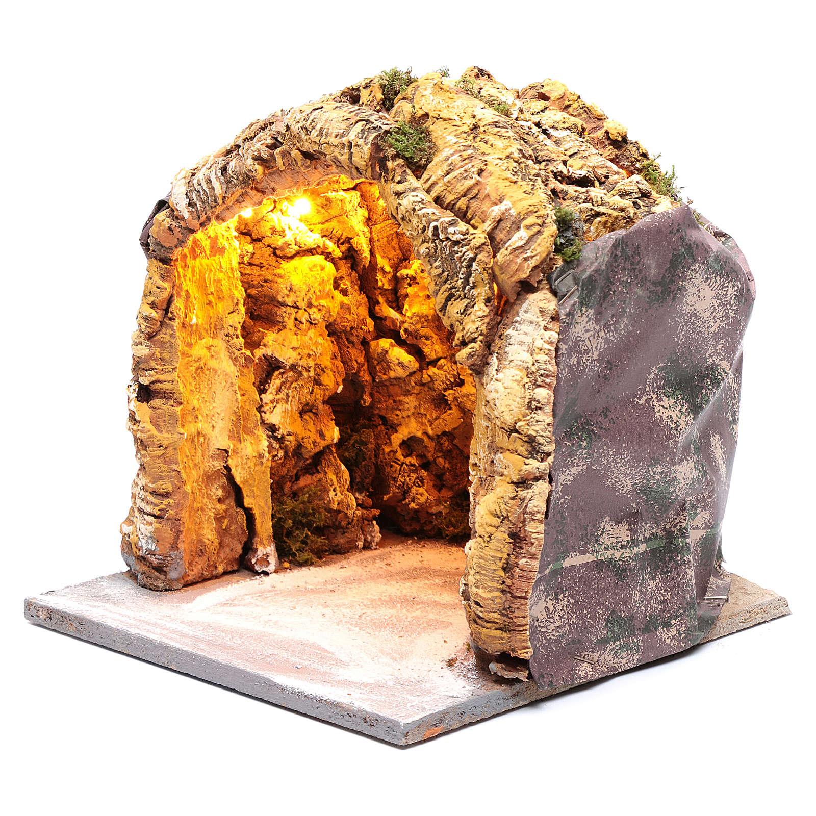 Neapolitan nativity scene cave illuminated  25x25x25 cm 4