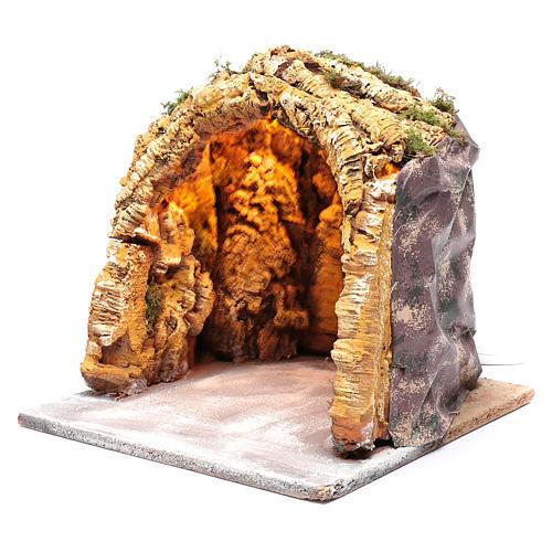 Neapolitan nativity scene illuminated in wood and cork 30x30x30 cm 2