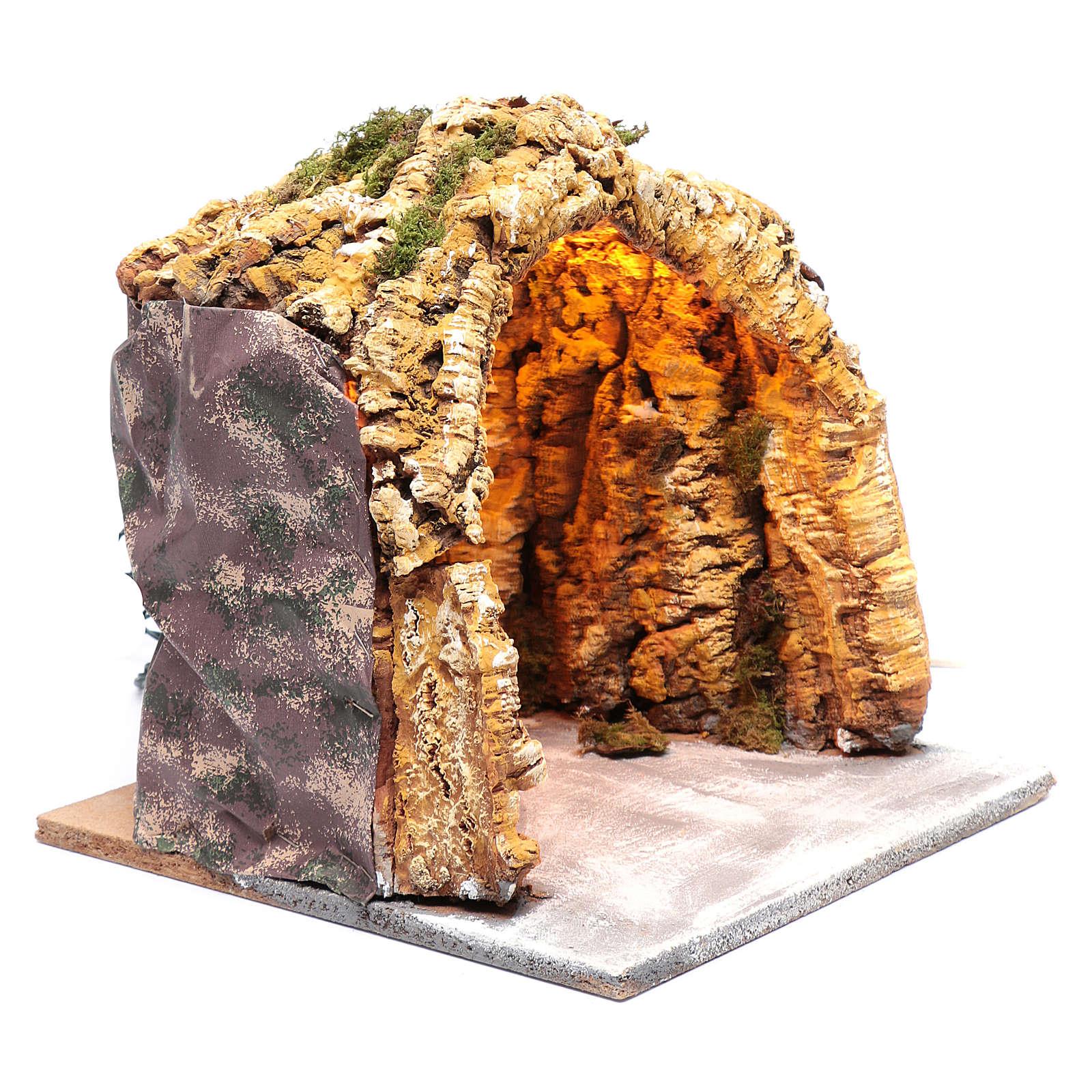 Cueva iluminada madera y corcho belén napolitano 30x30x30 cm 4