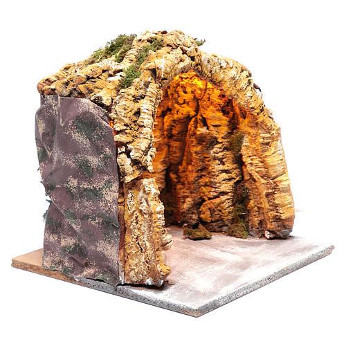 Cueva iluminada madera y corcho belén napolitano 30x30x30 cm 3