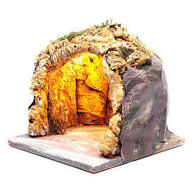 Neapolitan nativity scene cave  20x20x20 cm with lights s2