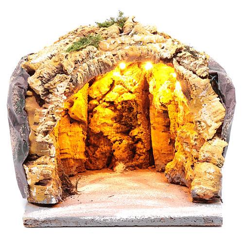 Neapolitan nativity scene cave  20x20x20 cm with lights 1