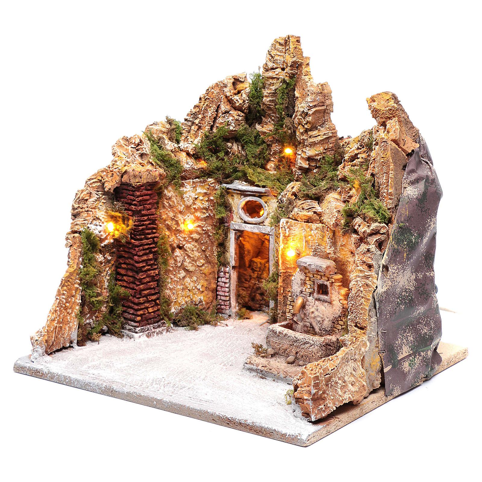 Ambientazione presepe fontanella e portone 30x35x30 cm 4