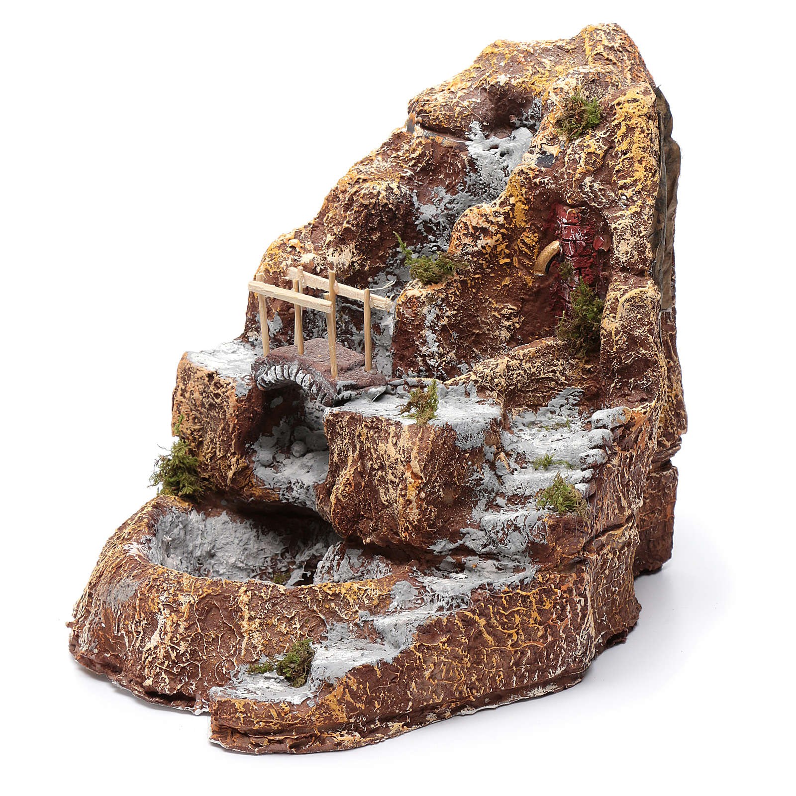Neapolitan nativity scene stream with bridge and resin stairs 4