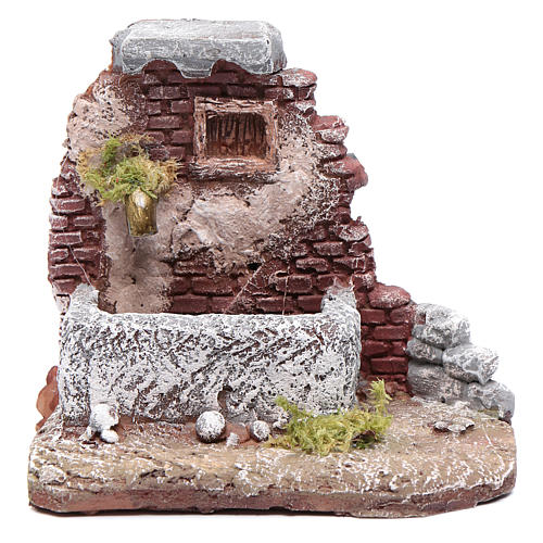 Neapolitan nativity scene fountain in resin 10x10x10 cm with pump 1